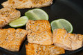 Salmon with lemon and pepper fillets black Royalty Free Stock Images
