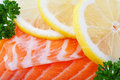 Salmon With Lemon Slices Stock Photo