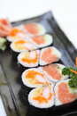 Salmon maki sushi in close up Royalty Free Stock Photos