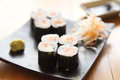 Salmon maki sushi in close up Stock Photo