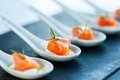 Salmon morsel extreme close up of smoked catering Royalty Free Stock Photography