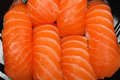 Salmon nigiri raw sushi japanese cuisine Stock Images