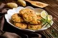 Salmon pancakes with potato Royalty Free Stock Photo