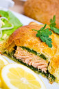 Salmon in puff pastry Royalty Free Stock Photo