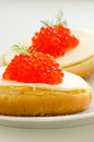 Salmon roe canapes Stock Image