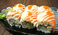 Salmon roll japanese style food Royalty Free Stock Photos