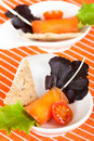 Salmon rolls stuffed with cheese Stock Photography