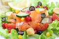 Salmon salad with berries fruit close up Royalty Free Stock Images