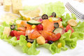 Salmon salad with berries fruit dish of Royalty Free Stock Photography