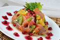 Salmon salad with fruit Stock Image