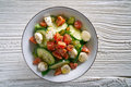 Salmon salad of mozzarella tomato cucumber Royalty Free Stock Photo