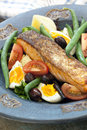 Salmon salad nicoise with grilled atlantic delicious healthy eating Royalty Free Stock Photo