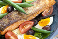 Salmon salad nicoise with grilled atlantic delicious healthy eating Stock Photos