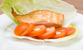 Salmon and salad on a plate Stock Photo