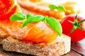Salmon sandwich with basil close up Royalty Free Stock Photo