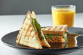 Salmon sandwich with juice. Healthy food