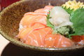 Salmon sashimi rice close up shot for japanese Royalty Free Stock Image