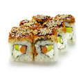 Salmon and Smoked Eel Maki Sushi Royalty Free Stock Photos