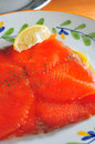 Salmon smoked with lemon juice Stock Photos