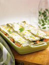 Salmon spinach lasagna Royalty Free Stock Photo