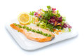 Salmon stake with green onion and salad mix isolated on white background Stock Photo