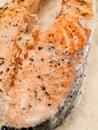Salmon steak with cherry tomatoes and cream Stock Photo