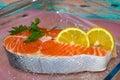 Salmon steak close-up Royalty Free Stock Photo