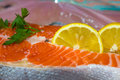 Salmon steak close up Royalty Free Stock Photo