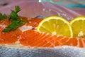 Salmon steak close up Royalty Free Stock Photo