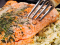 Salmon steak with rice cherry tomatoes and cream Royalty Free Stock Images