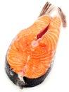 Salmon steak unprepared isolated on white background Royalty Free Stock Photos