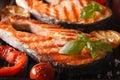 Salmon Steak And Vegetables On...