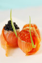 Salmon stuffed with caviar Royalty Free Stock Photo