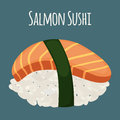 Salmon sushi - asian food with fish, rice. Traditional Japanese meal. Vector illustration