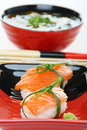 Salmon sushi close up. Stock Photography