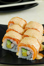 Salmon sushi rolls Royalty Free Stock Photo