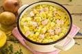 Salmon sweet corn chowder Royalty Free Stock Photo