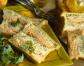 Salmon terrine in pastry crust Stock Image
