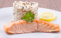 Salmon with wild rice on a plate Royalty Free Stock Images