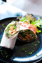 Salmon wrap with roti dough Stock Images