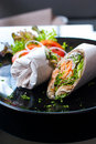 Salmon wrap with roti dough Stock Photography