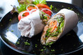 Salmon wrap with roti dough Royalty Free Stock Image