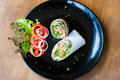 Salmon wrap with roti dough top view Royalty Free Stock Photography