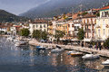 Salo on lake garda in northern italy the beautiful town of is a popular european tourist destination situated near the dolomites Stock Photos