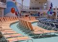 Salons de cabriolet sur un paquet de bateaux Images libres de droits