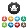 Saloon icons set color