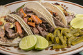 Salsa and arrachera tacos mexican beef with nopales Stock Photos