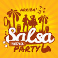 Salsa dancing poster for the party cuban couple palms musical instruments vector stylish illustration and design element Stock Images