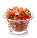 Salsa dip bowl of fresh isolated on white background Stock Photo