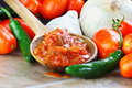 Salsa and Ingredients Royalty Free Stock Images